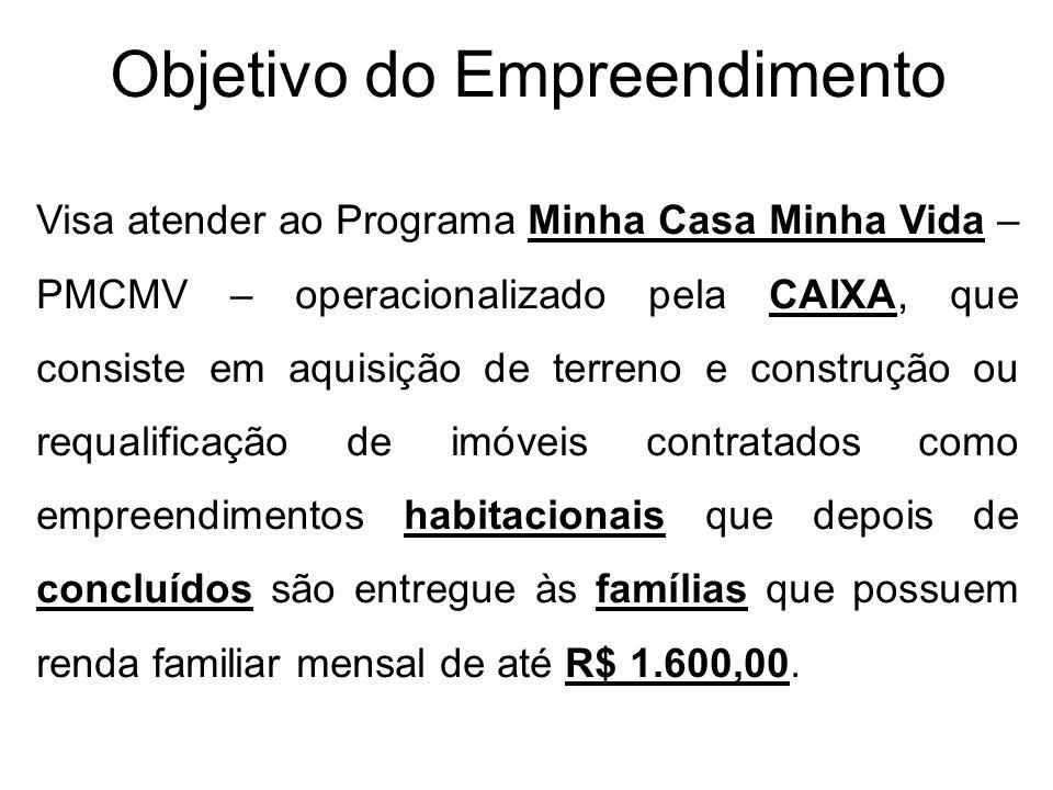 Objetivo do Empreendimento Visa atender ao Programa Minha Casa Minha Vida – PMCMV – operacionalizado pela CAIXA, que consiste em aquisição de terreno