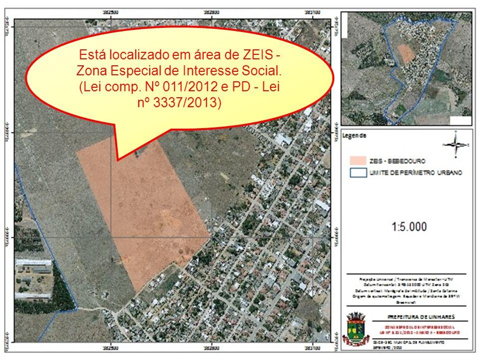 Está localizado em área de ZEIS - Zona Especial de Interesse Social. (Lei comp. Nº 011/2012 e PD - Lei nº 3337/2013)
