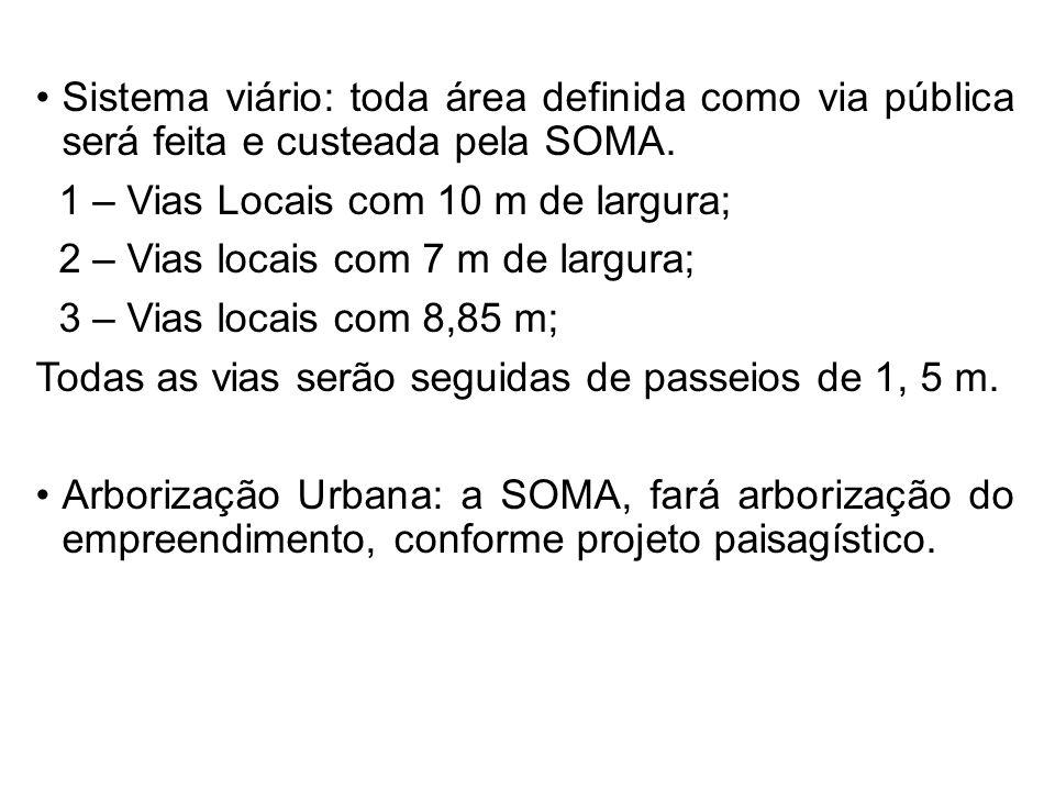 Sistema viário: toda área definida como via pública será feita e custeada pela SOMA. 1 – Vias Locais com 10 m de largura; 2 – Vias locais com 7 m de l