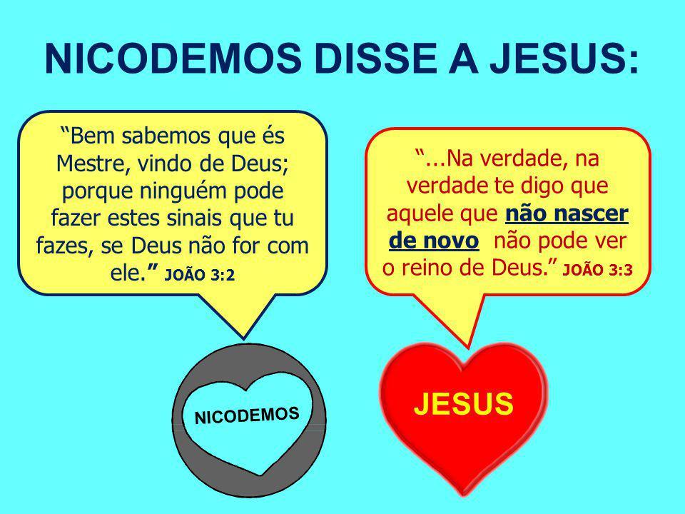 NICODEMOS DISSE A JESUS: Bem sabemos que és Mestre, vindo de Deus; porque ninguém pode fazer estes sinais que tu fazes, se Deus não for com ele. JOÃO 3:2 ...Na verdade, na verdade te digo que aquele que não nascer de novo não pode ver o reino de Deus. JOÃO 3:3 JESUS NICODEMOS