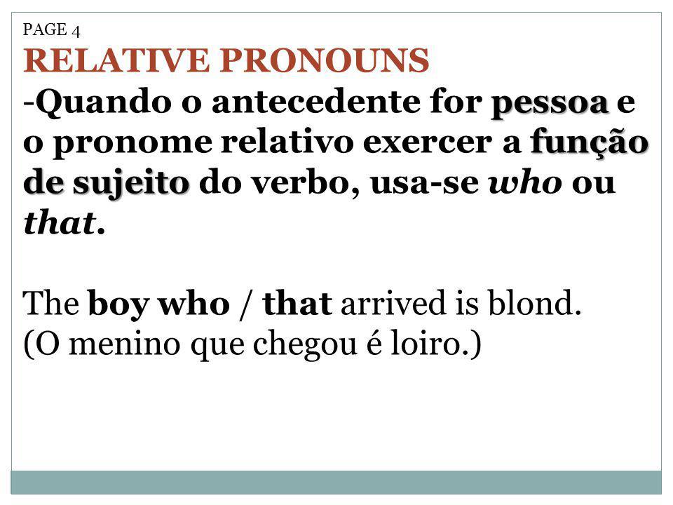 PAGE 4 RELATIVE PRONOUNS pessoa função de sujeito -Quando o antecedente for pessoa e o pronome relativo exercer a função de sujeito do verbo, usa-se w