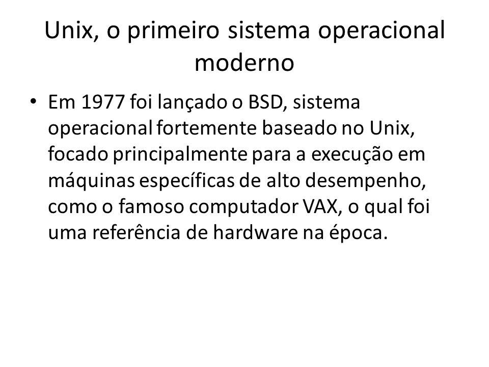 Unix, o primeiro sistema operacional moderno Em 1977 foi lançado o BSD, sistema operacional fortemente baseado no Unix, focado principalmente para a execução em máquinas específicas de alto desempenho, como o famoso computador VAX, o qual foi uma referência de hardware na época.