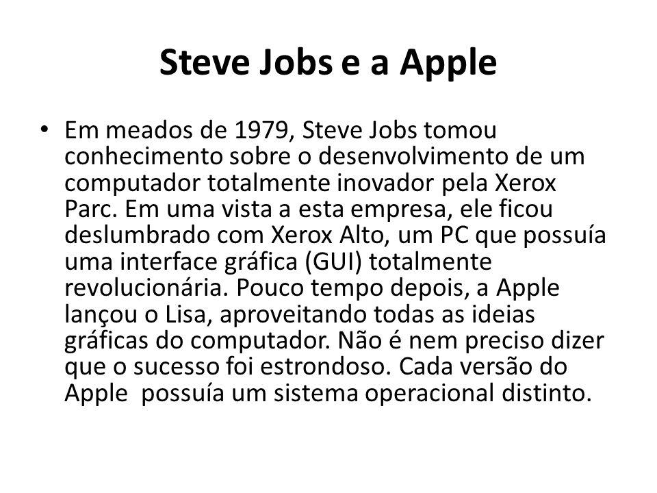Steve Jobs e a Apple Em meados de 1979, Steve Jobs tomou conhecimento sobre o desenvolvimento de um computador totalmente inovador pela Xerox Parc.