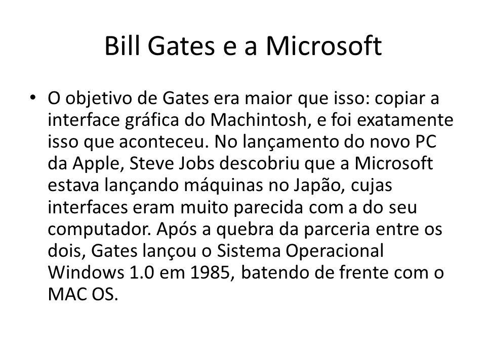 Bill Gates e a Microsoft O objetivo de Gates era maior que isso: copiar a interface gráfica do Machintosh, e foi exatamente isso que aconteceu. No lan