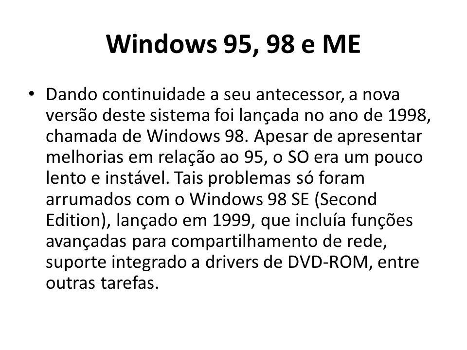 Windows 95, 98 e ME Dando continuidade a seu antecessor, a nova versão deste sistema foi lançada no ano de 1998, chamada de Windows 98. Apesar de apre