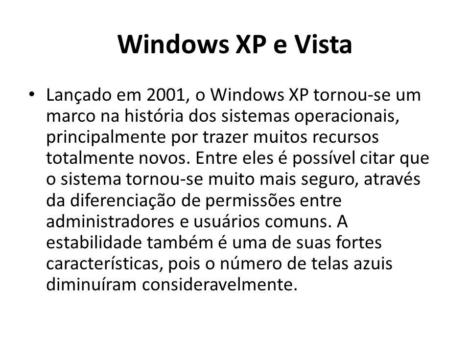 Windows XP e Vista Lançado em 2001, o Windows XP tornou-se um marco na história dos sistemas operacionais, principalmente por trazer muitos recursos totalmente novos.