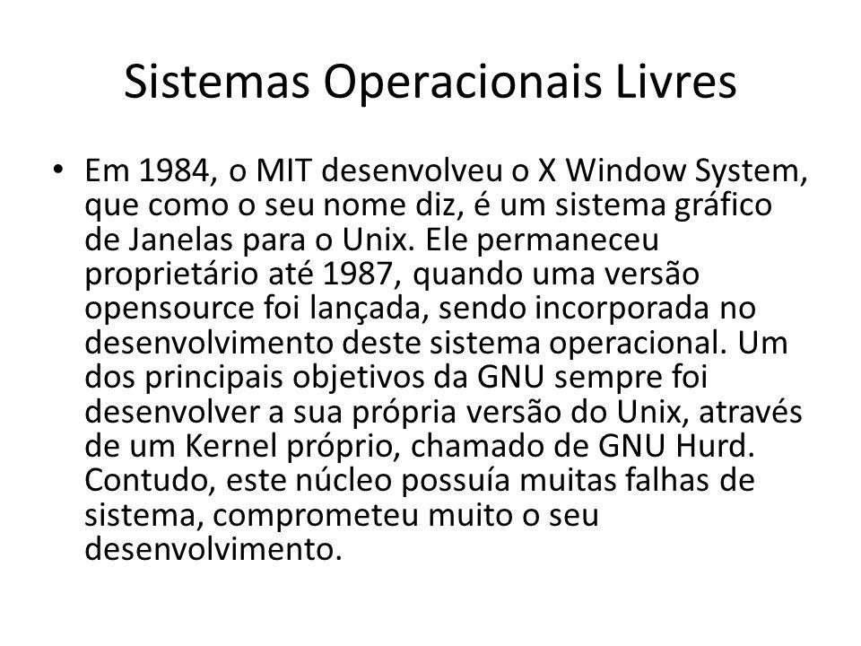 Sistemas Operacionais Livres Em 1984, o MIT desenvolveu o X Window System, que como o seu nome diz, é um sistema gráfico de Janelas para o Unix. Ele p