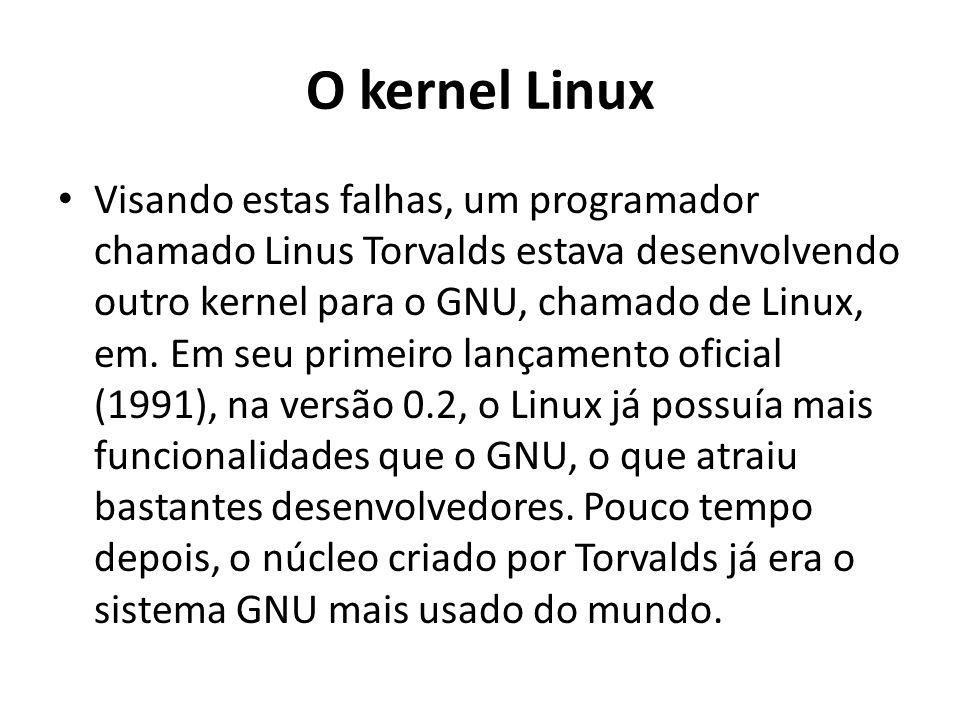 O kernel Linux Visando estas falhas, um programador chamado Linus Torvalds estava desenvolvendo outro kernel para o GNU, chamado de Linux, em.