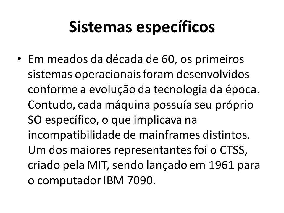 Sistemas específicos Em meados da década de 60, os primeiros sistemas operacionais foram desenvolvidos conforme a evolução da tecnologia da época. Con