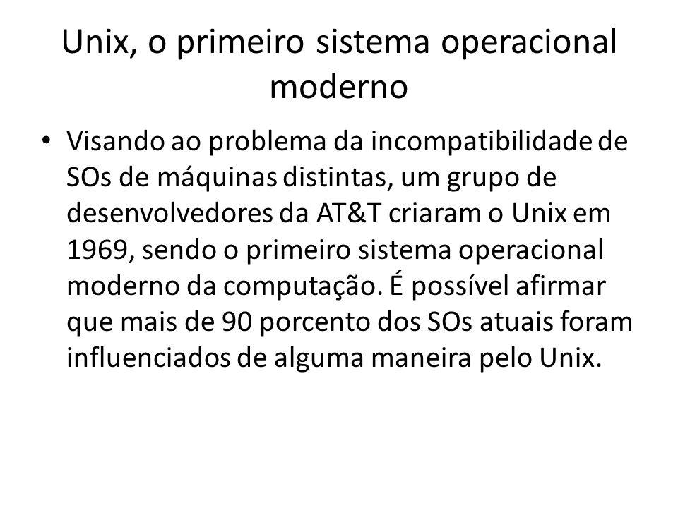 Unix, o primeiro sistema operacional moderno Visando ao problema da incompatibilidade de SOs de máquinas distintas, um grupo de desenvolvedores da AT&T criaram o Unix em 1969, sendo o primeiro sistema operacional moderno da computação.
