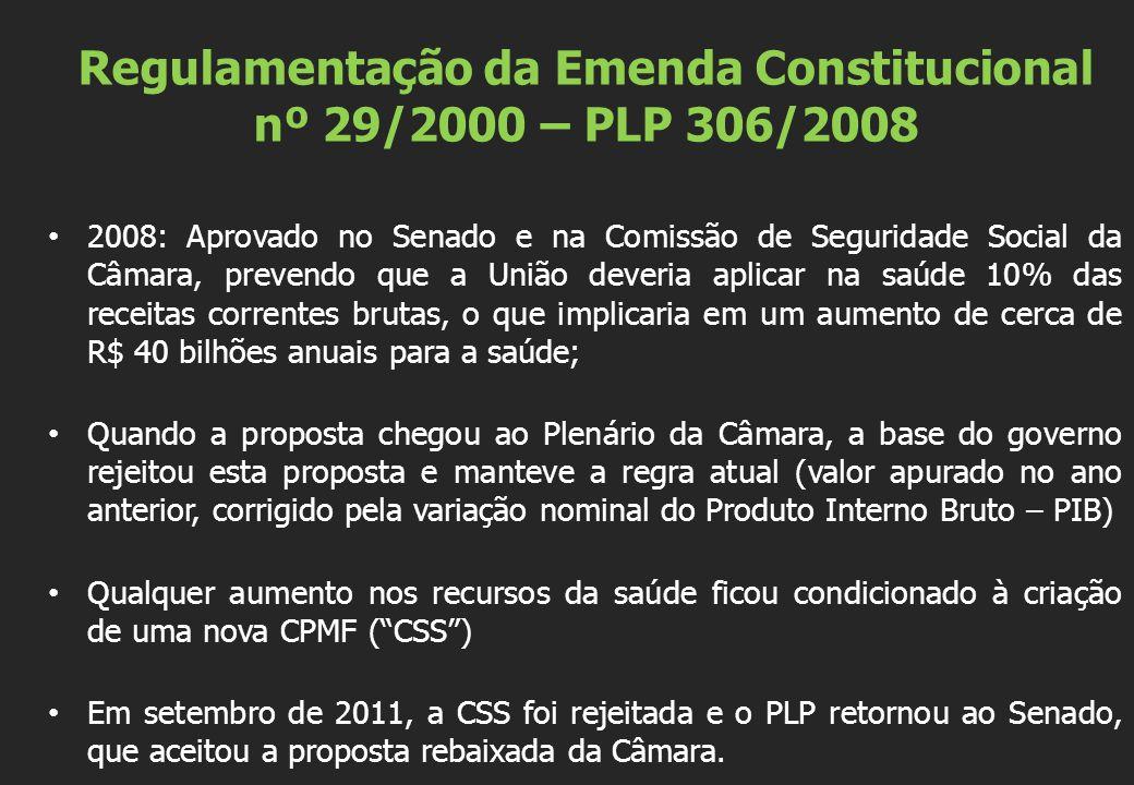 Regulamentação da Emenda Constitucional nº 29/2000 – PLP 306/2008 2008: Aprovado no Senado e na Comissão de Seguridade Social da Câmara, prevendo que