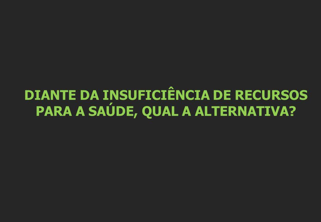 DIANTE DA INSUFICIÊNCIA DE RECURSOS PARA A SAÚDE, QUAL A ALTERNATIVA
