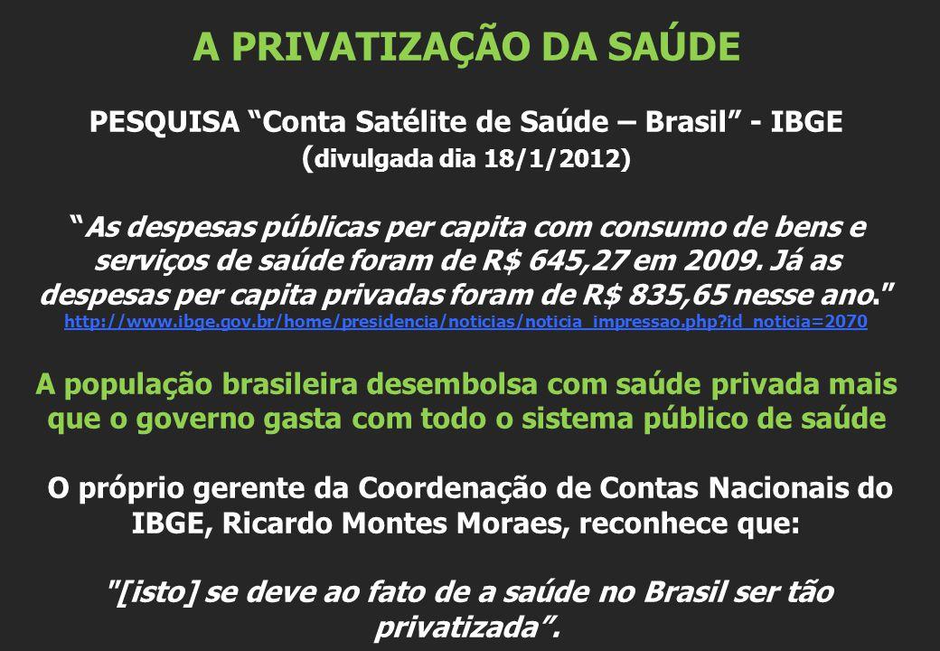 A PRIVATIZAÇÃO DA SAÚDE PESQUISA Conta Satélite de Saúde – Brasil - IBGE ( divulgada dia 18/1/2012) As despesas públicas per capita com consumo de bens e serviços de saúde foram de R$ 645,27 em 2009.