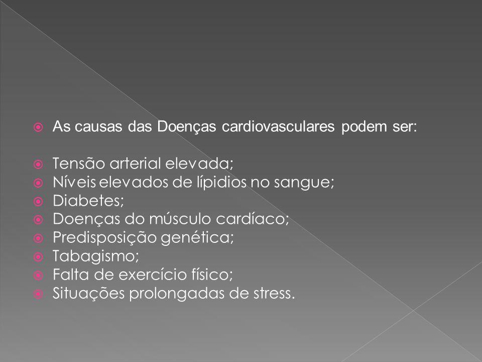  As causas das Doenças cardiovasculares podem ser:  Tensão arterial elevada;  Níveis elevados de lípidios no sangue;  Diabetes;  Doenças do múscu
