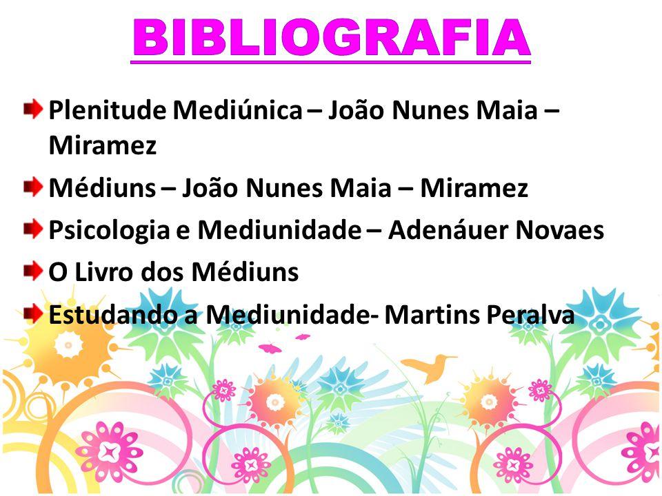 Plenitude Mediúnica – João Nunes Maia – Miramez Médiuns – João Nunes Maia – Miramez Psicologia e Mediunidade – Adenáuer Novaes O Livro dos Médiuns Est