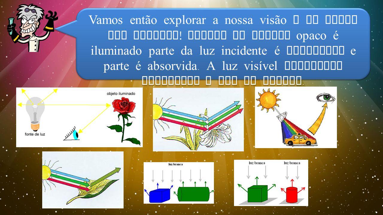 Vamos então explorar a nossa visão e as cores dos objetos .