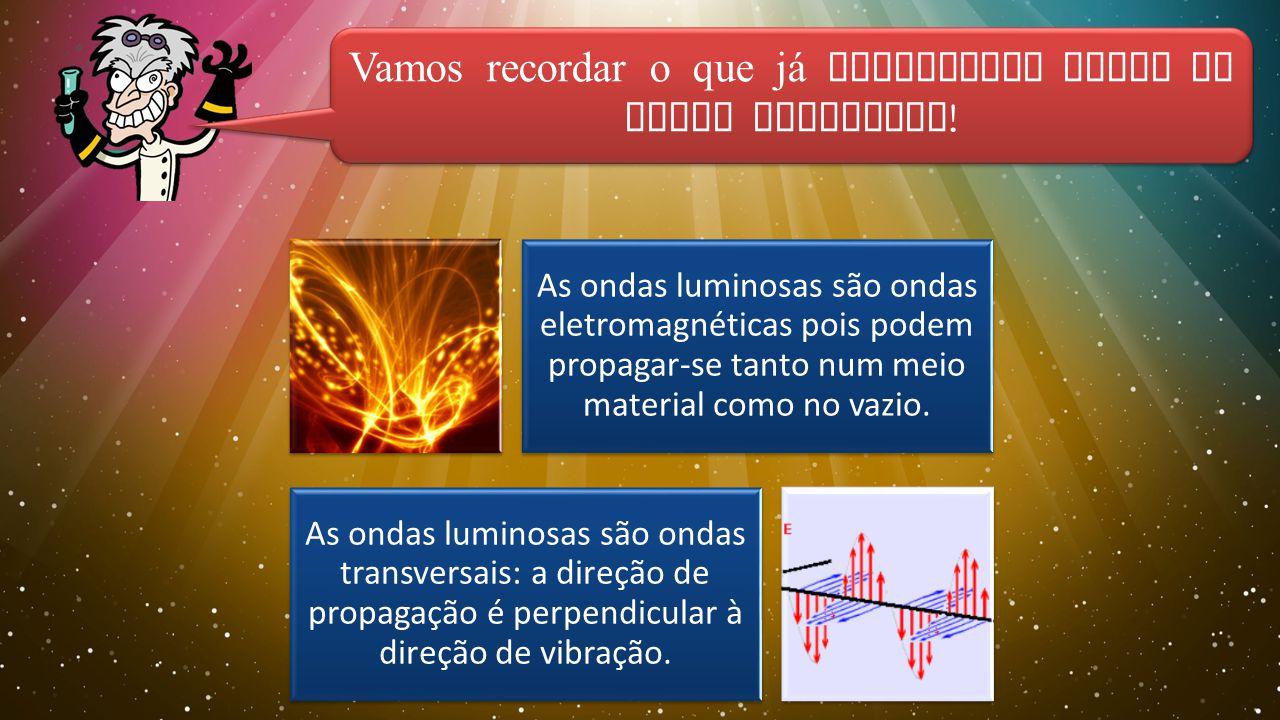 As ondas luminosas são ondas eletromagnéticas pois podem propagar-se tanto num meio material como no vazio.