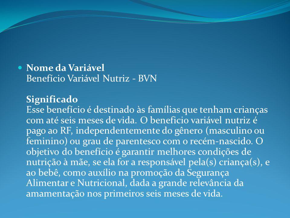 Nome da Variável Benefício Variável Nutriz - BVN Significado Esse benefício é destinado às famílias que tenham crianças com até seis meses de vida. O