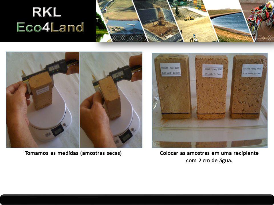 Tomamos as medidas (amostras secas)Colocar as amostras em uma recipiente com 2 cm de água.