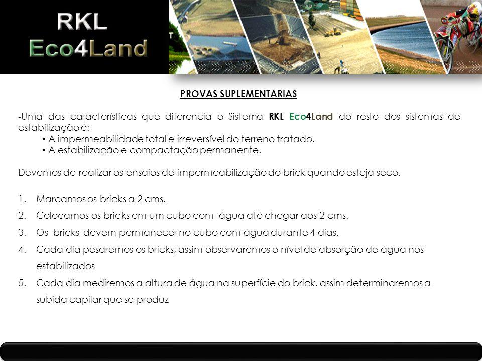 PROVAS SUPLEMENTARIAS - Uma das características que diferencia o Sistema RKL Eco4Land do resto dos sistemas de estabilização é: A impermeabilidade total e irreversível do terreno tratado.