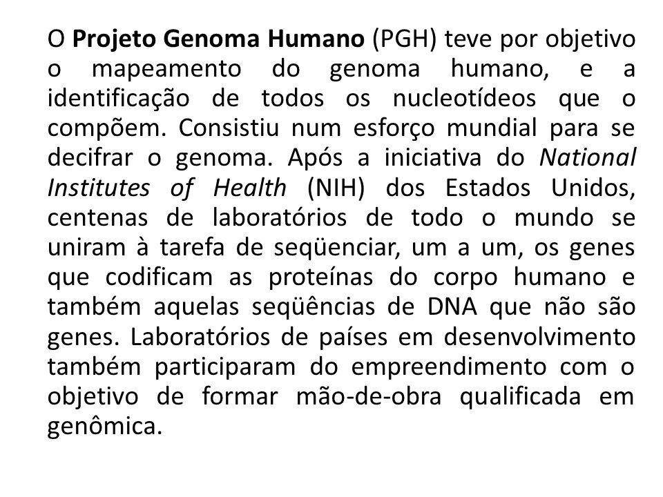 O Projeto Genoma Humano (PGH) teve por objetivo o mapeamento do genoma humano, e a identificação de todos os nucleotídeos que o compõem. Consistiu num