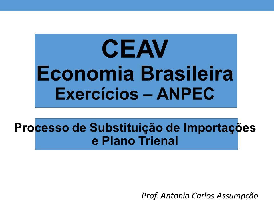 CEAV Economia Brasileira Exercícios – ANPEC Processo de Substituição de Importações e Plano Trienal Prof. Antonio Carlos Assumpção