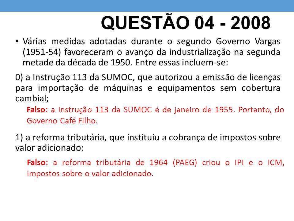 QUESTÃO 04 - 2008 Várias medidas adotadas durante o segundo Governo Vargas (1951-54) favoreceram o avanço da industrialização na segunda metade da déc