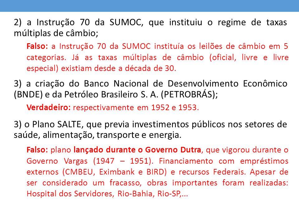 2) a Instrução 70 da SUMOC, que instituiu o regime de taxas múltiplas de câmbio; 3) a criação do Banco Nacional de Desenvolvimento Econômico (BNDE) e