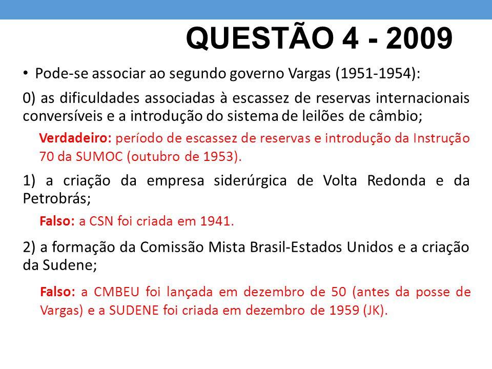 QUESTÃO 4 - 2009 Pode-se associar ao segundo governo Vargas (1951-1954): 0) as dificuldades associadas à escassez de reservas internacionais conversív