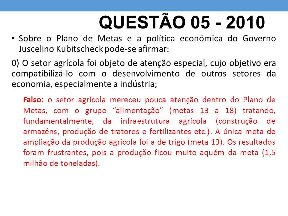 QUESTÃO 05 - 2010 Sobre o Plano de Metas e a política econômica do Governo Juscelino Kubitscheck pode-se afirmar: 0) O setor agrícola foi objeto de at