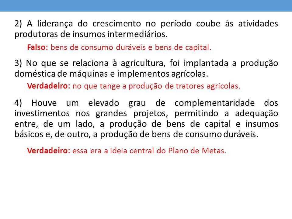 2) A liderança do crescimento no período coube às atividades produtoras de insumos intermediários. 3) No que se relaciona à agricultura, foi implantad