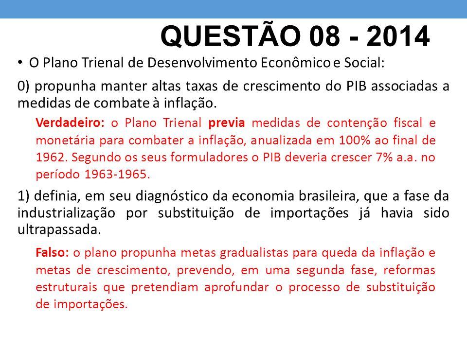 QUESTÃO 08 - 2014 O Plano Trienal de Desenvolvimento Econômico e Social: 0) propunha manter altas taxas de crescimento do PIB associadas a medidas de
