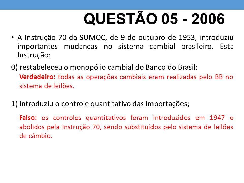QUESTÃO 05 - 2006 A Instrução 70 da SUMOC, de 9 de outubro de 1953, introduziu importantes mudanças no sistema cambial brasileiro. Esta Instrução: 0)