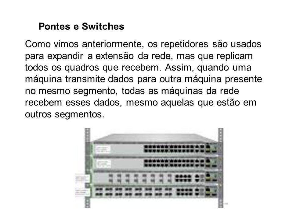 Pontes e Switches Como vimos anteriormente, os repetidores são usados para expandir a extensão da rede, mas que replicam todos os quadros que recebem.