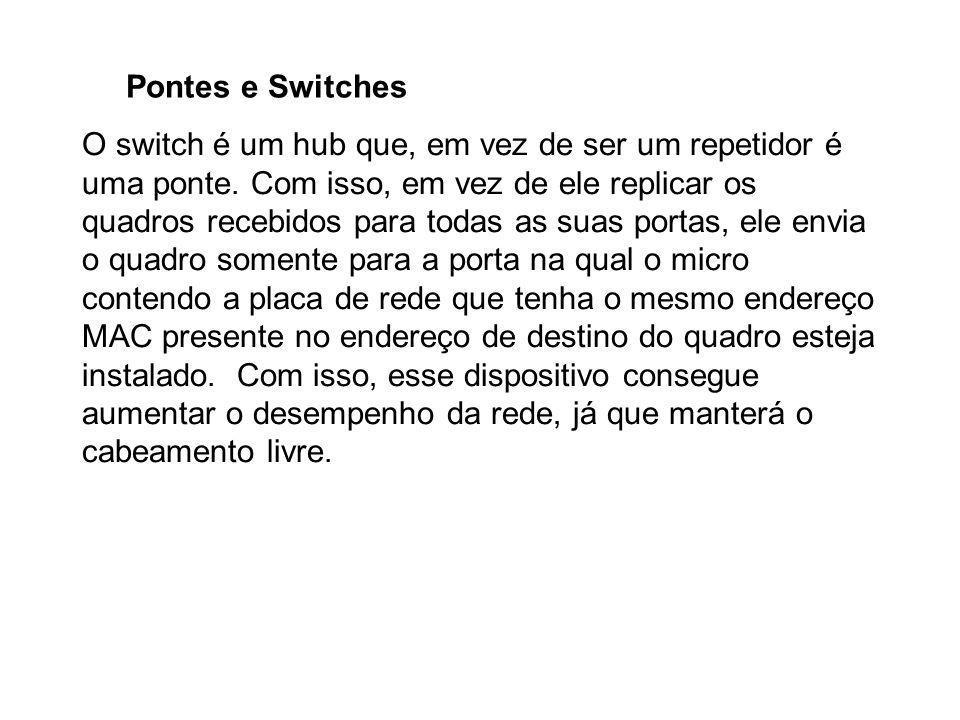 Pontes e Switches O switch é um hub que, em vez de ser um repetidor é uma ponte. Com isso, em vez de ele replicar os quadros recebidos para todas as s