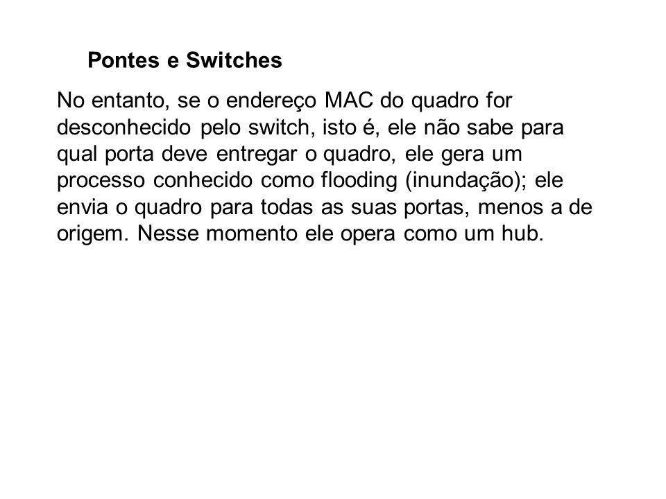 Pontes e Switches No entanto, se o endereço MAC do quadro for desconhecido pelo switch, isto é, ele não sabe para qual porta deve entregar o quadro, e