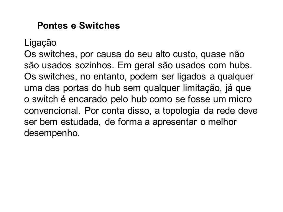 Pontes e Switches Ligação Os switches, por causa do seu alto custo, quase não são usados sozinhos. Em geral são usados com hubs. Os switches, no entan