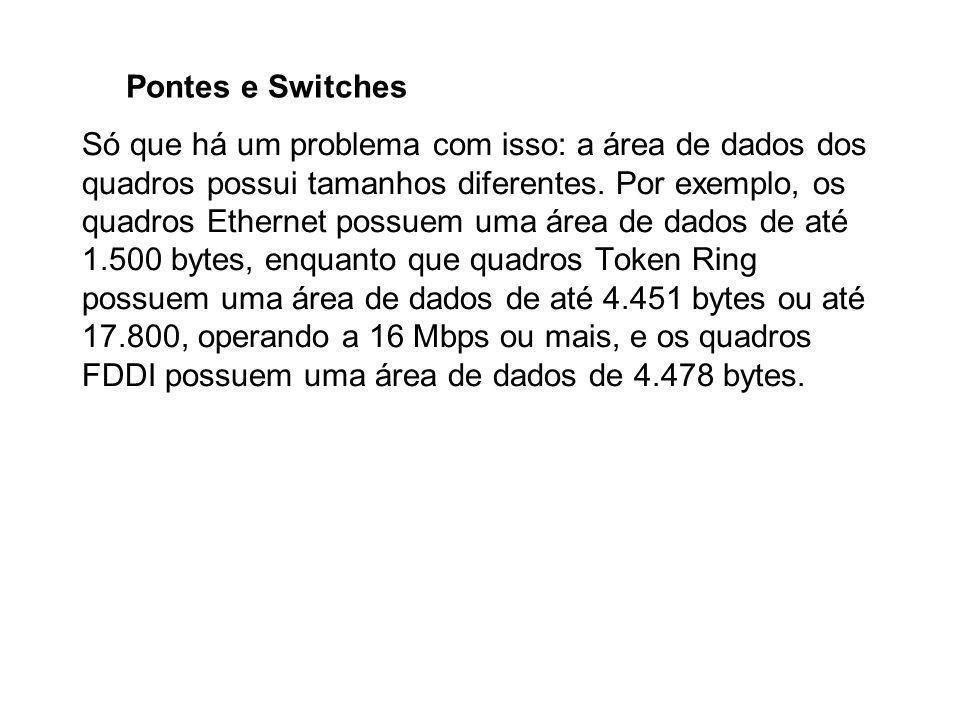 Pontes e Switches Só que há um problema com isso: a área de dados dos quadros possui tamanhos diferentes. Por exemplo, os quadros Ethernet possuem uma