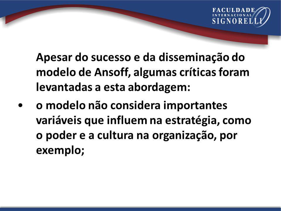 Apesar do sucesso e da disseminação do modelo de Ansoff, algumas críticas foram levantadas a esta abordagem: o modelo não considera importantes variáv
