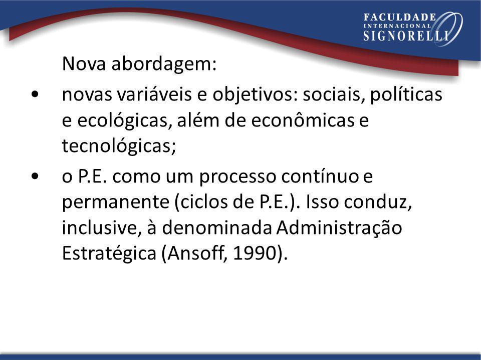 Nova abordagem: novas variáveis e objetivos: sociais, políticas e ecológicas, além de econômicas e tecnológicas; o P.E. como um processo contínuo e pe