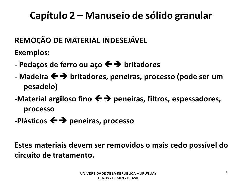 REMOÇÃO DE MATERIAL INDESEJÁVEL Exemplos: - Pedaços de ferro ou aço  britadores - Madeira  britadores, peneiras, processo (pode ser um pesadelo) -