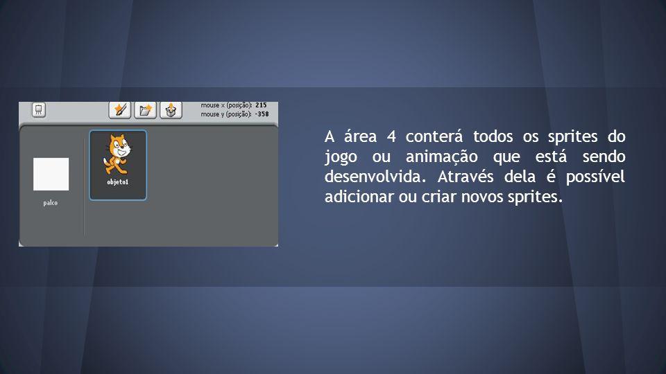 A área 4 conterá todos os sprites do jogo ou animação que está sendo desenvolvida.