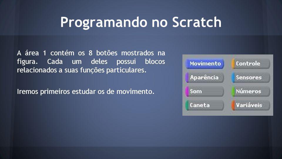 Programando no Scratch A área 1 contém os 8 botões mostrados na figura.