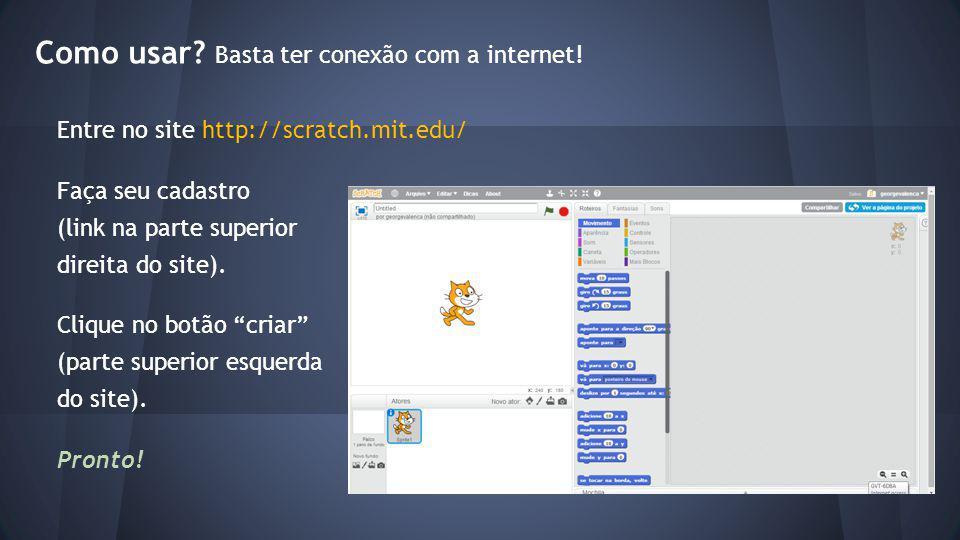 Escolhendo um sprite O Scratch já inicia com um sprite, o gato laranja (um sprite é uma pequena figura que pode ser movida pela tela, produzindo efeitos).