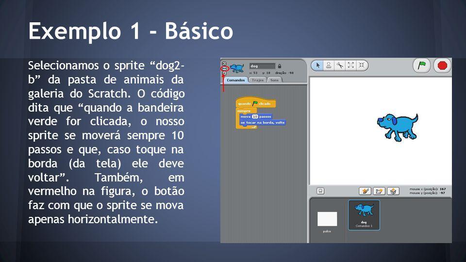 Exemplo 1 - Básico Selecionamos o sprite dog2- b da pasta de animais da galeria do Scratch.