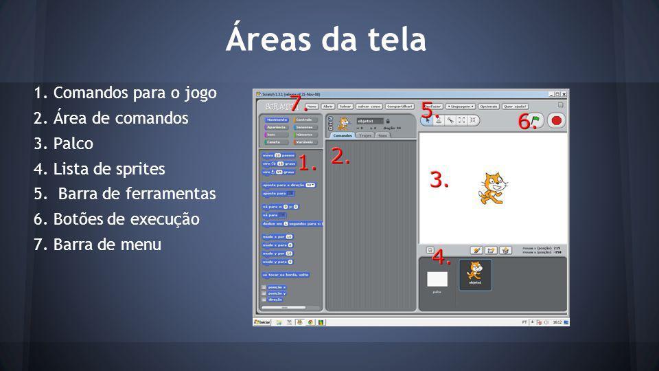 Áreas da tela 1.Comandos para o jogo 2. Área de comandos 3.