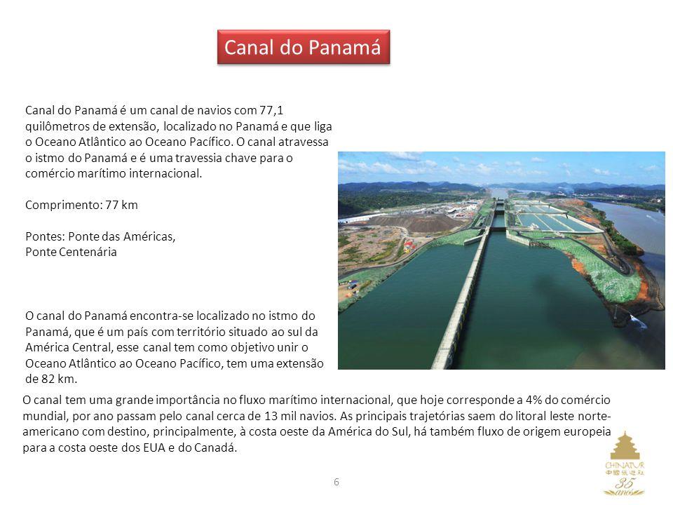6 Canal do Panamá é um canal de navios com 77,1 quilômetros de extensão, localizado no Panamá e que liga o Oceano Atlântico ao Oceano Pacífico. O cana