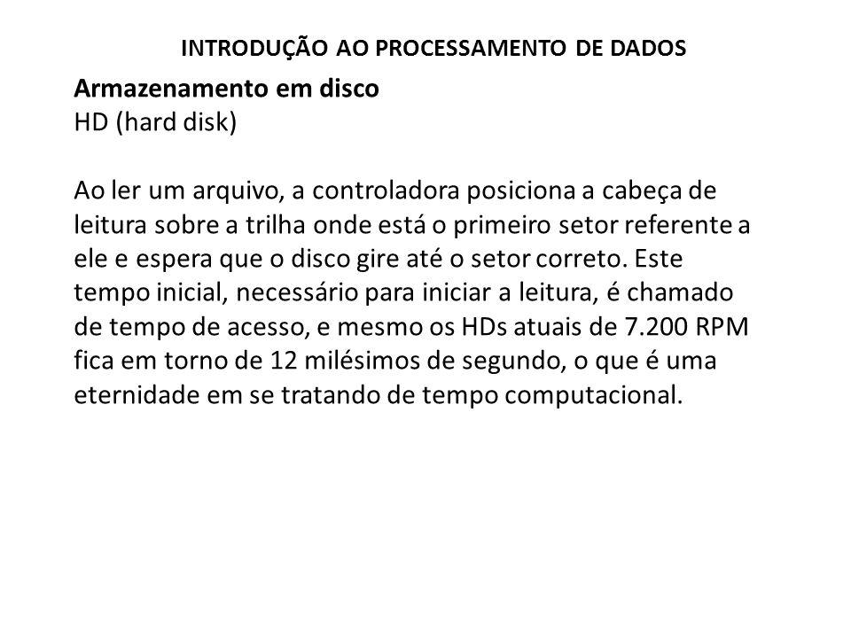 Armazenamento em disco HD (hard disk) Ao ler um arquivo, a controladora posiciona a cabeça de leitura sobre a trilha onde está o primeiro setor refere