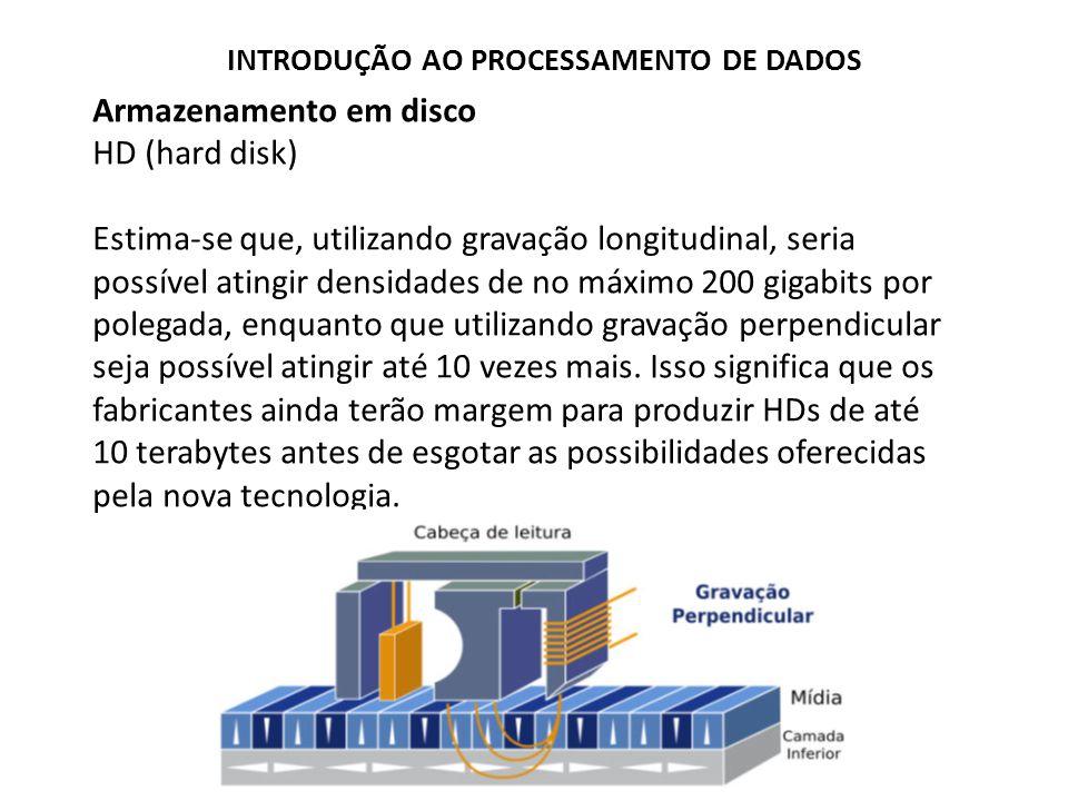 Armazenamento em disco HD (hard disk) Estima-se que, utilizando gravação longitudinal, seria possível atingir densidades de no máximo 200 gigabits por