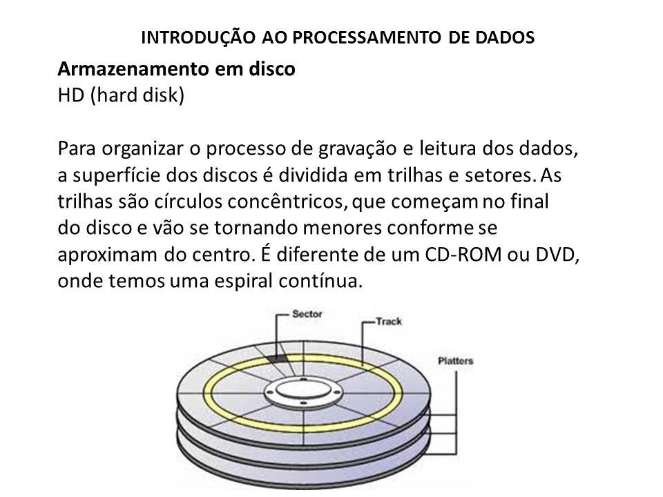 Armazenamento em disco HD (hard disk) Para organizar o processo de gravação e leitura dos dados, a superfície dos discos é dividida em trilhas e setor